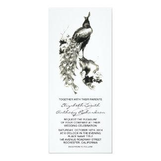 """el boda negro y blanco de la caligrafía del pavo invitación 4"""" x 9.25"""""""