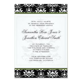 """El boda negro y blanco del acento del verde del invitación 5"""" x 7"""""""
