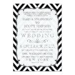 El boda negro y blanco del vintage de Chevron Invitaciones Personales