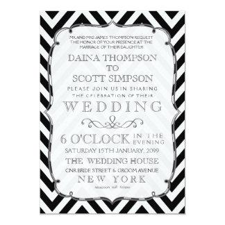 """El boda negro y blanco del vintage de Chevron Invitación 5"""" X 7"""""""
