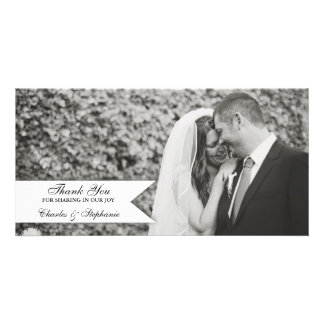 El boda negro y blanco le agradece tarjeta de la f tarjetas fotograficas