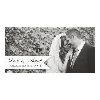El boda negro y blanco le agradece tarjeta de la f tarjeta con foto personalizada