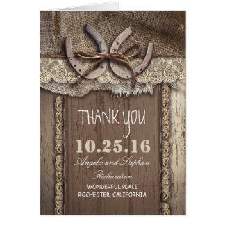 El boda occidental de herradura le agradece las tarjeta pequeña