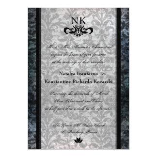 El boda oval del gótico del damasco negro de lujo comunicados