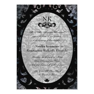 El boda oval del gótico del damasco negro de lujo comunicados personales