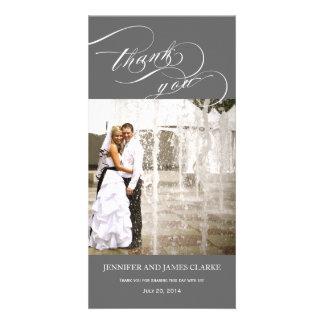 El boda personalizado gris de la foto de la escrit tarjeta personal con foto