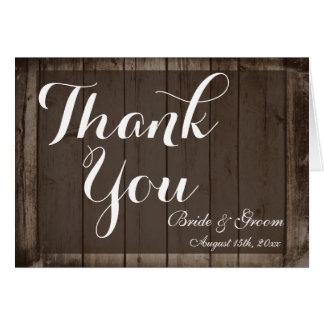El boda personalizado madera antigua le agradece felicitaciones