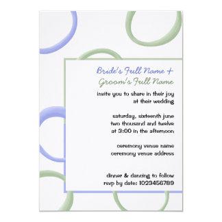 """El boda pintado de la lavanda 3 de los círculos invitación 5"""" x 7"""""""