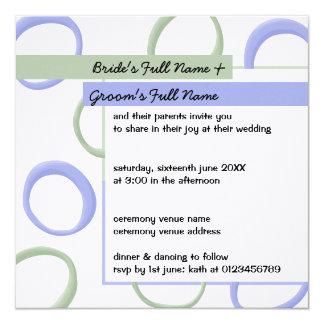 """El boda pintado de la lavanda de los círculos invitación 5.25"""" x 5.25"""""""