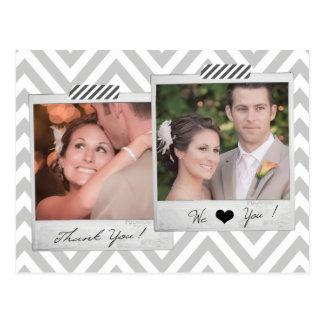 El boda polaroid gris de Chevron le agradece posta Postales