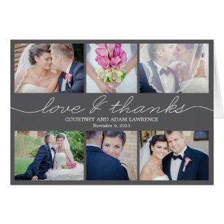 El boda precioso de la escritura le agradece carda felicitación