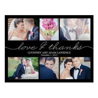 El boda precioso de la escritura le agradece carda tarjetas postales