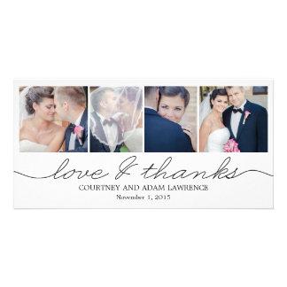 El boda precioso de la escritura le agradece las t tarjeta fotografica