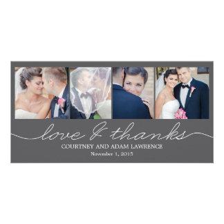 El boda precioso de la escritura le agradece las t tarjetas fotograficas personalizadas
