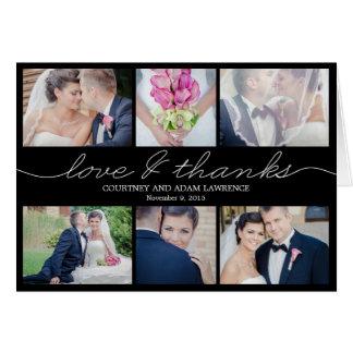 El boda precioso de la escritura le agradece tarjeta pequeña