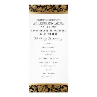 El boda programa el damasco floral de oro del | en plantilla de lona