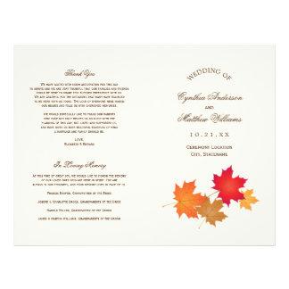 El boda programa las hojas de otoño del | flyer personalizado