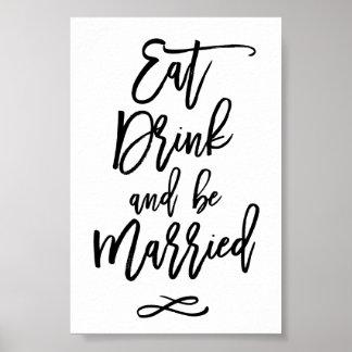 El boda puesto letras mano elegante come la bebida póster