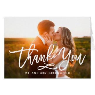 El boda puesto letras mano elegante le agradece tarjeta pequeña