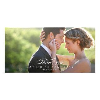 El boda puro de la elegancia le agradece - blanco tarjetas con fotos personalizadas