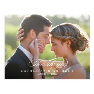 El boda puro de la elegancia le agradece cardar - tarjeta postal