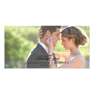 El boda puro de la elegancia le agradece - negro tarjeta fotográfica