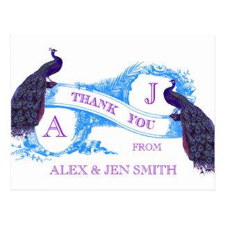 El boda púrpura, azul del pavo real le agradece tarjeta postal