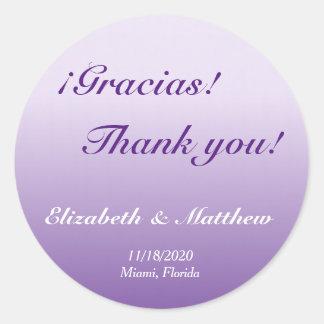 El boda púrpura bilingüe de Ombre le agradece Pegatina Redonda