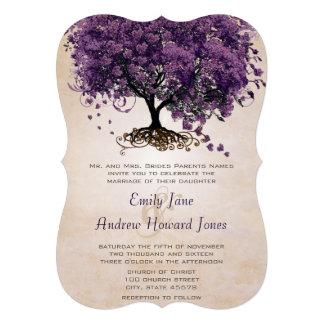 El boda púrpura cortado con tintas del árbol de He Comunicado Personal