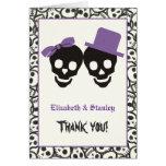 El boda púrpura de Halloween de los cráneos Tarjeta Pequeña