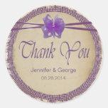 El boda púrpura de la arpillera le agradece etiquetas
