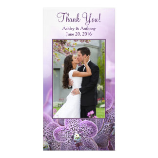 El boda púrpura de la flor de la orquídea le tarjeta fotográfica