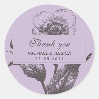El boda púrpura de la flor del vintage le agradece pegatina redonda