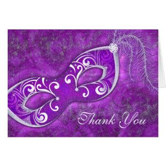El boda púrpura de la máscara de la bola de tarjeta pequeña