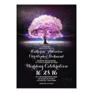 el boda púrpura de la secuencia del árbol invitaciones personales