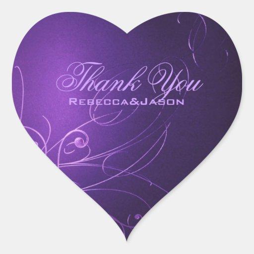 el boda púrpura de los remolinos elegantes del pegatina en forma de corazón