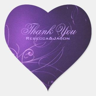 el boda púrpura de los remolinos elegantes del vin calcomania corazon personalizadas