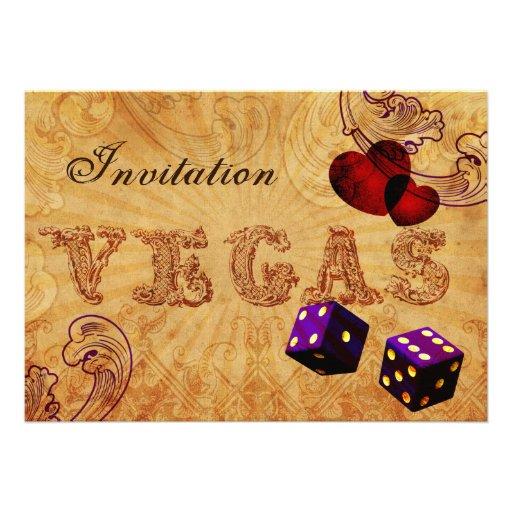 el boda púrpura de Vegas del vintage de los dados  Invitación Personalizada