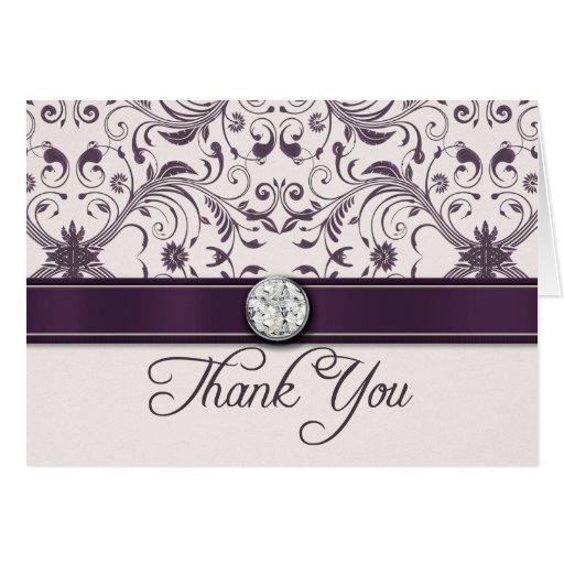 El boda púrpura del damasco de la berenjena le tarjeta pequeña