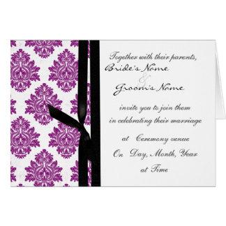 el boda púrpura del damasco invita tarjeta de felicitación
