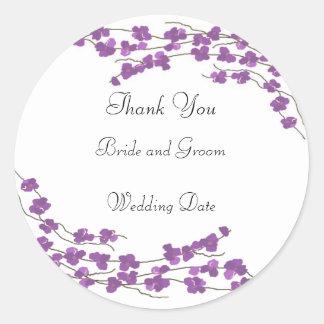 El boda púrpura del flor le agradece pegatinas redondas