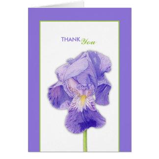 El boda púrpura del iris le agradece cardar tarjeta