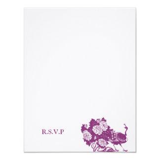 """El boda púrpura del pavo real incluye la tarjeta invitación 4.25"""" x 5.5"""""""