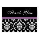 El boda púrpura elegante del damasco le agradece l felicitaciones