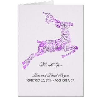 El boda púrpura le agradece con los ciervos tarjeta pequeña