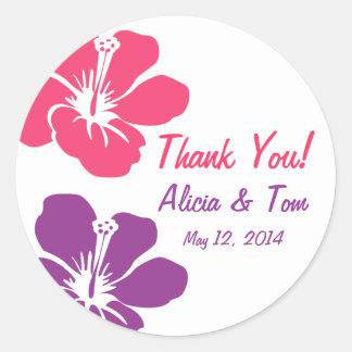 El boda púrpura rosado del hibisco le agradece etiqueta redonda