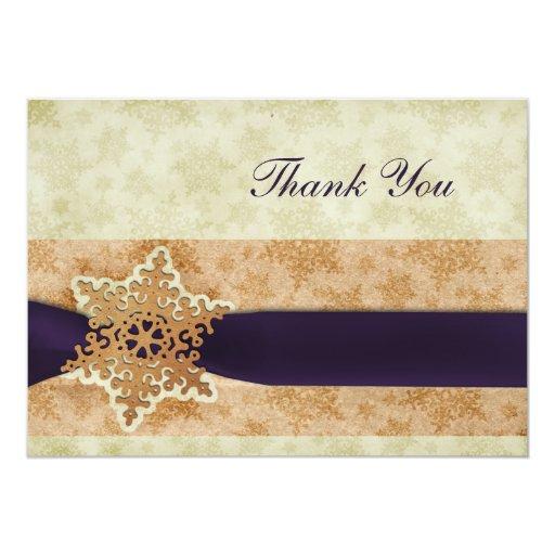 el boda púrpura rústico del invierno le agradece invitación 12,7 x 17,8 cm