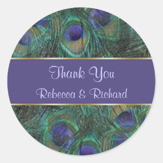 El boda púrpura verde del pavo real le agradece pe