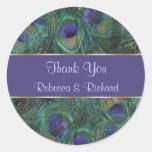 El boda púrpura verde del pavo real le agradece pegatinas redondas