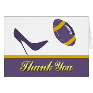 El boda púrpura y amarillo del fútbol le agradece  tarjeta pequeña